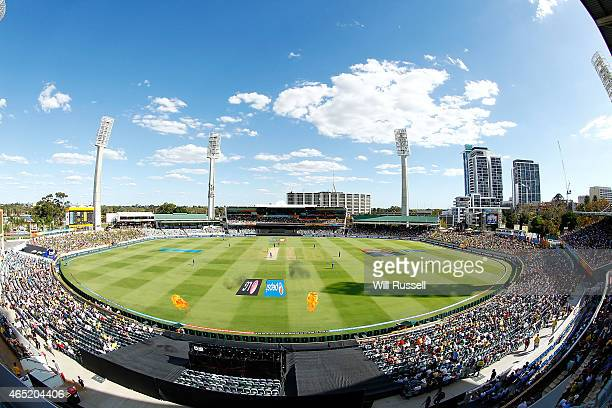 A general view of play as Australia bats during the 2015 ICC Cricket World Cup match between Australia and Afghanistan at WACA on March 4 2015 in...