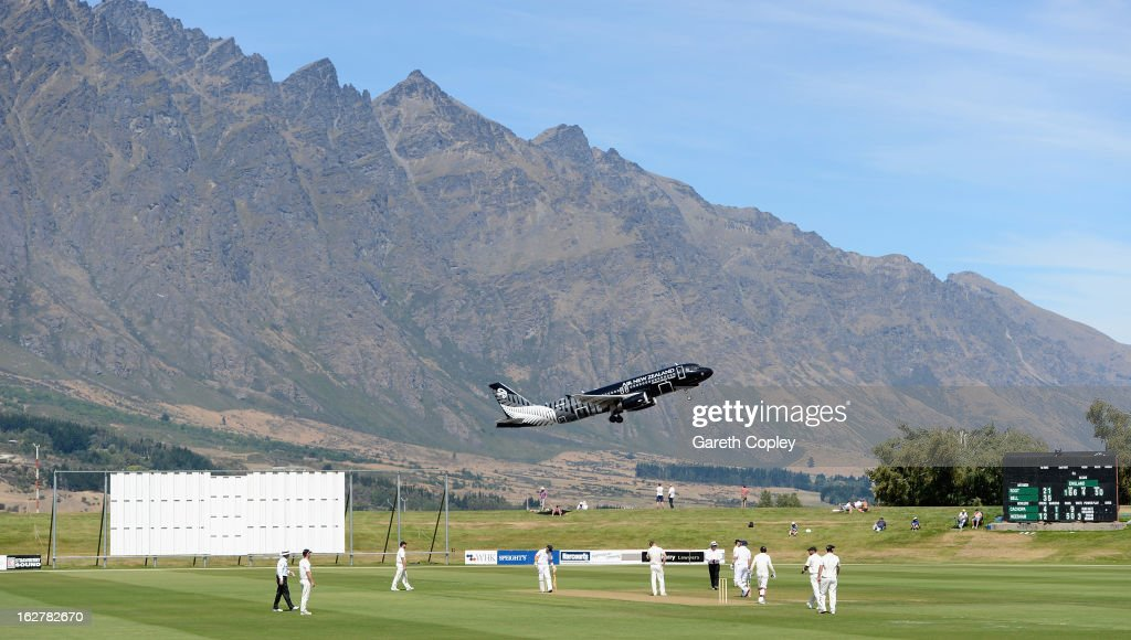General view of play as England bat in the foothills of the Remarkables mountain range during the International tour match between New Zealand XI and England at Queenstown Events Centre on February 27, 2013 in Queenstown, New Zealand.