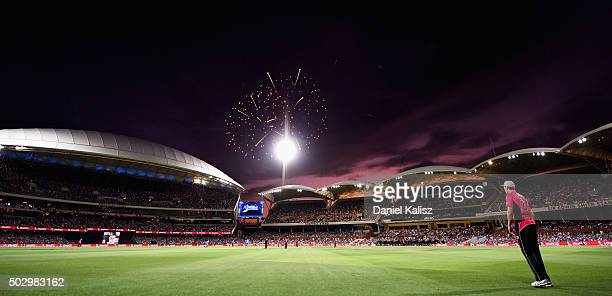 A general view of play as fireworks are set off for new years eve celebrations during the Big Bash League match between the Adelaide Strikers and the...