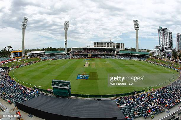 A general view of play as India bats during the One Day International match between England and India at WACA on January 30 2015 in Perth Australia