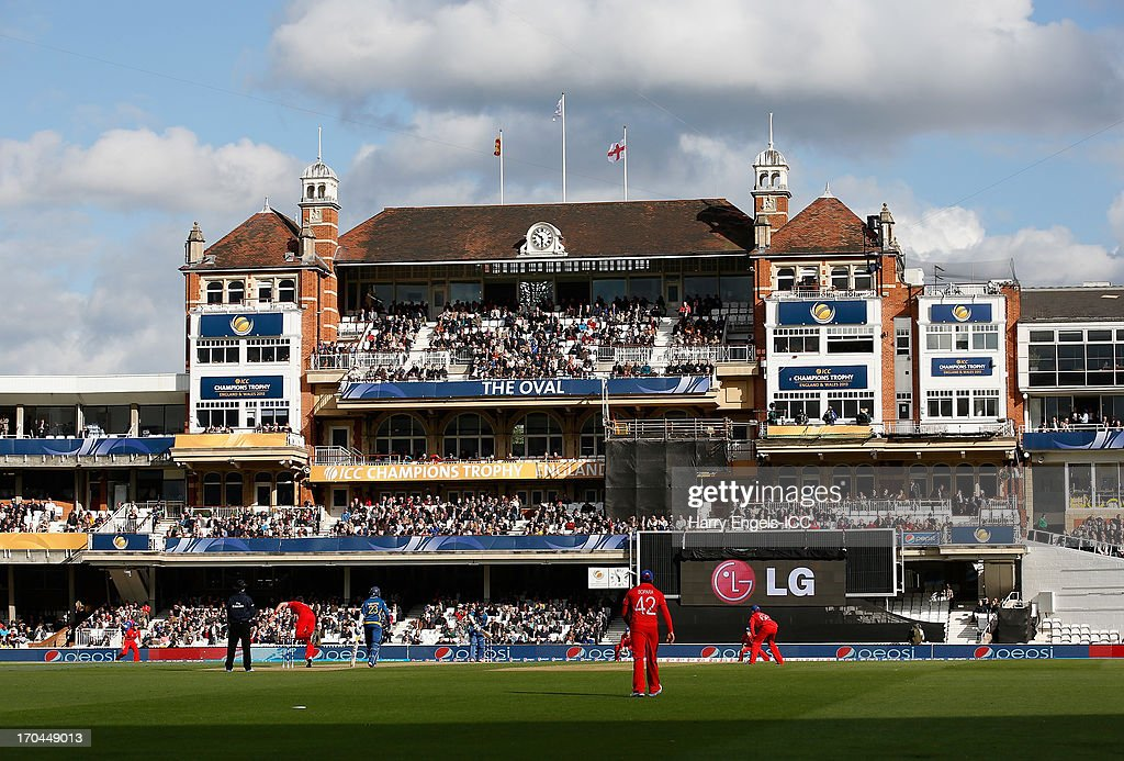 A general view of play as James Anderson of England bowls during the ICC Champions Trophy group A match between England and Sri Lanka at The Kia Oval on June 13, 2013 in London, England.