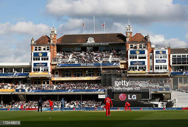 A general view of play as James Anderson of England bowls during the ICC Champions Trophy group A match between England and Sri Lanka at The Kia Oval...