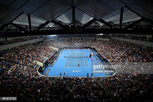 A general view of play as Rafael Nadal of Spain competes against Mark Philippoussis of Australia during Rafa's Summer Set at Melbourne Park on...