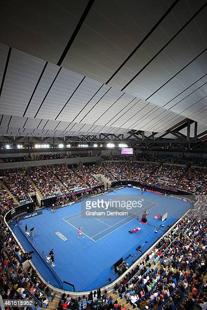 A general view of play as Rafael Nadal of Spain competes against Omar Jasika of Australia during Rafa's Summer Set at Melbourne Park on January 14...