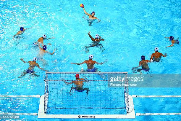 A general view of play as Serbia attack the Greece goal during the Men's Waterpolo Semi Final match between Greece and Serbia on day seven of the...