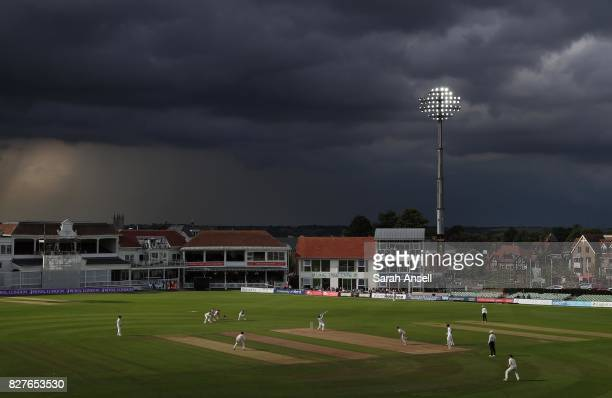 A general view of play as storm clouds gather during day 3 of the match between Kent and West Indies at The Spitfire Ground on August 8 2017 in...