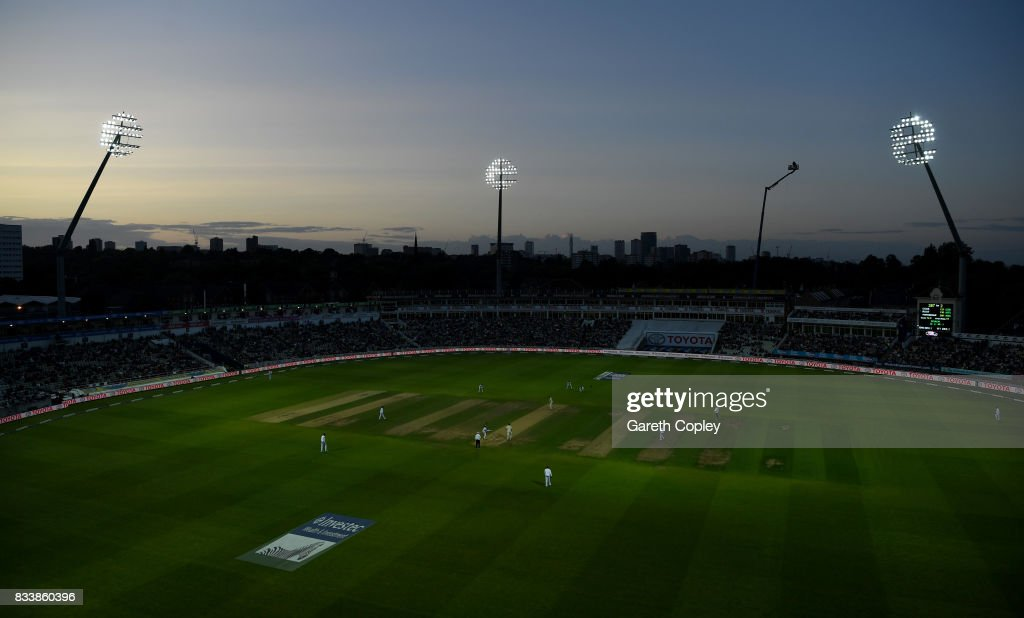 General view of play as the floodlights take effect during the 1st Investec Test match between England and West Indies at Edgbaston on August 17, 2017 in Birmingham, England.