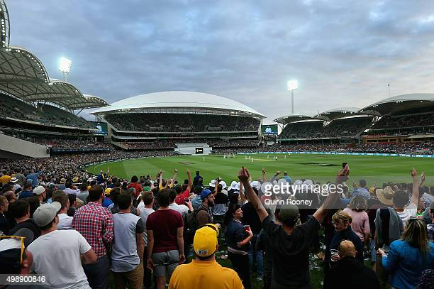 A general view of play as the lights come on during day one of the Third Test match between Australia and New Zealand at Adelaide Oval on November 27...