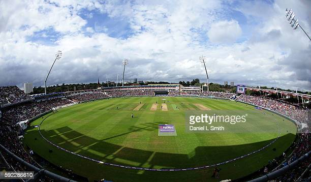 A general view of play as the sun breaks through during the NatWest T20 Blast Finals day at Edgbaston on August 20 2016 in Birmingham England