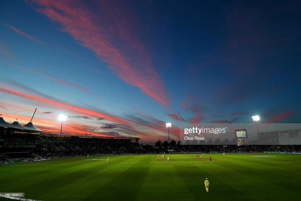 A general view of play as the sun sets during the 5th NatWest Series one day international at the Ageas Bowl on September 16, 2013 in Southampton, England.