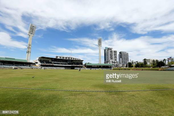 A general view of play as Victoria fields during the JLT One Day Cup match between Victoria and Western Australia at WACA on October 1 2017 in Perth...
