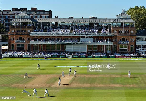 A general view of play as Yorkshire field during day four of the Specsavers County Championship match between Middlesex and Yorkshire at Lords on...