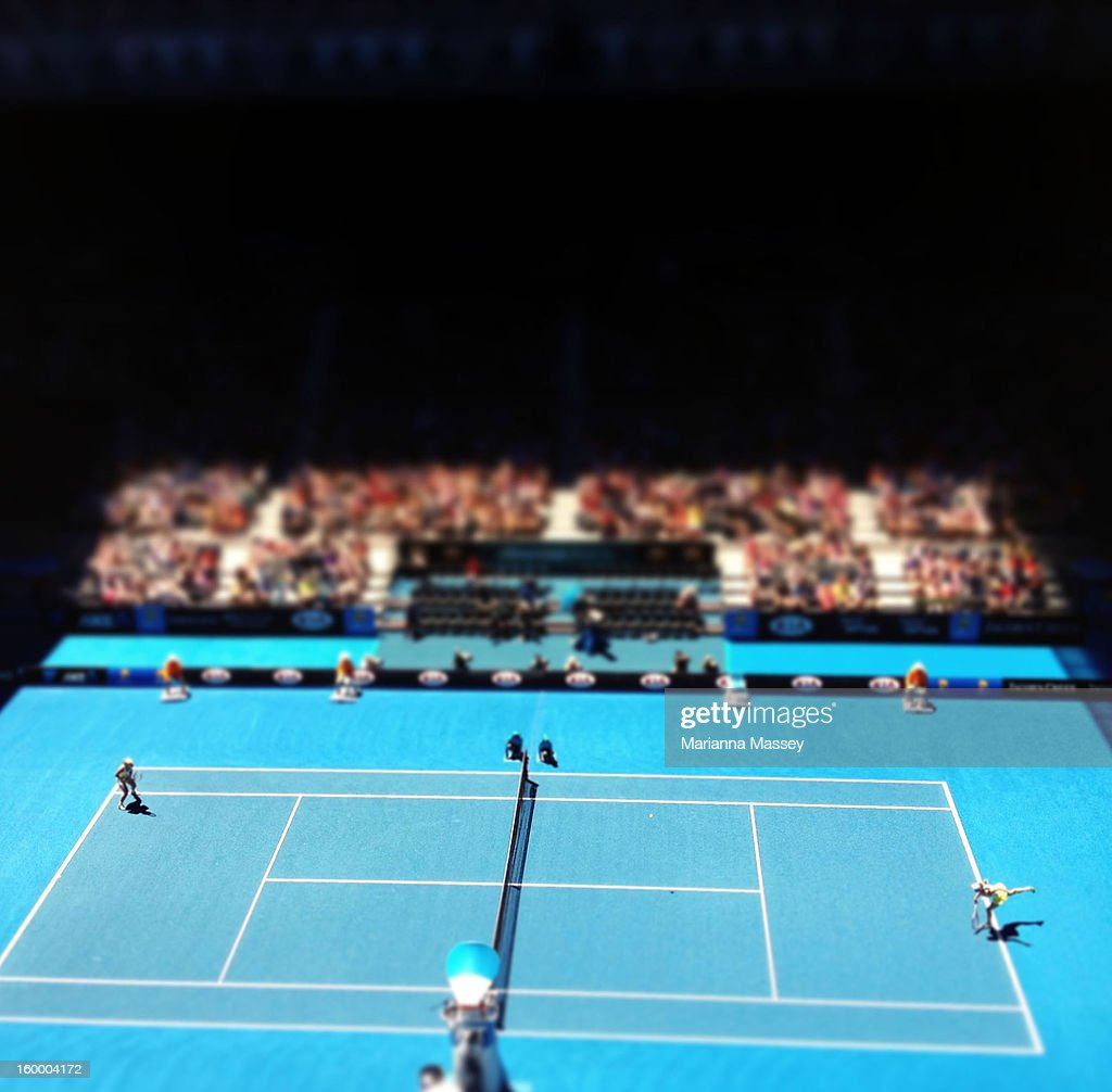 A general view of play at Hisense Arena on day two of the 2013 Australian Open at Melbourne Park on January 15 2013 in Melbourne Australia
