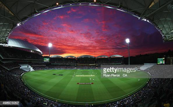A general view of play at sunset during day one of the Third Test match between Australia and New Zealand at Adelaide Oval on November 27 2015 in...