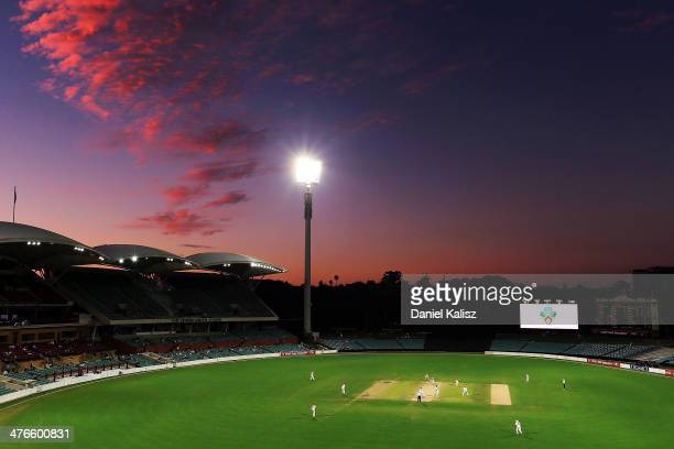 A general view of play at sunset during day two of the Sheffield Shield match between South Australia and New South Wales at Adelaide Oval on March 4...