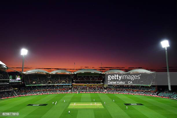 A general view of play at sunset during day two of the Third Test match between Australia and South Africa at Adelaide Oval on November 25 2016 in...