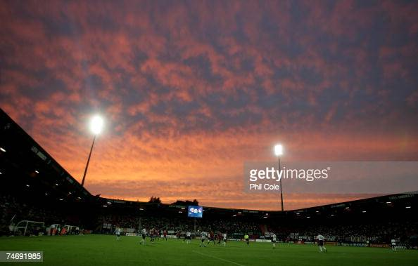 A general view of play at the Stadion de Goffert during the UEFA European Under21 Championships match between England U21 and Serbia U21 on June 17...