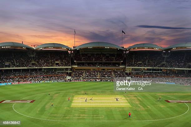 A general view of play atmosphere sunset during game one of the International Twenty20 Series between Australia and South Africa at Adelaide Oval on...
