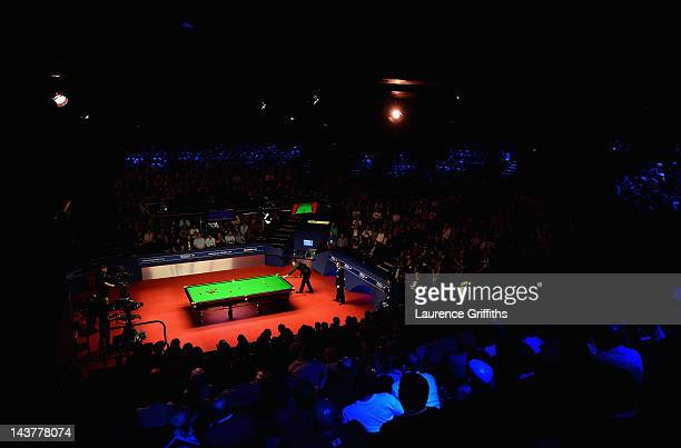 A general view of play between Ronnie O'Sullivan of England and Matthew Stevens of Wales during the Betfredcom World Snooker Championship Semi Final...