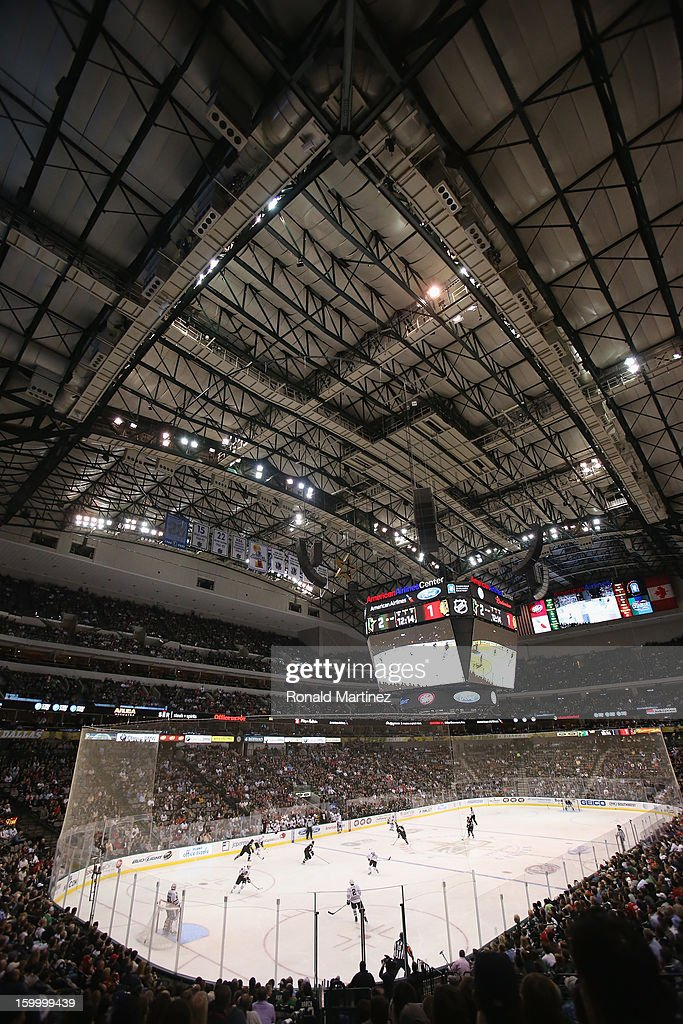 General view of play between the Chicago Blackhawks and the Dallas Stars at American Airlines Center on January 24, 2013 in Dallas, Texas.