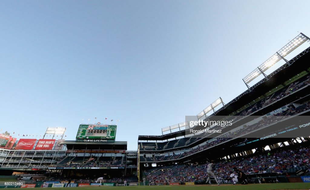 A general view of play between the Detroit Tigers and the Texas Rangers at Globe Life Park in Arlington on August 15, 2017 in Arlington, Texas.