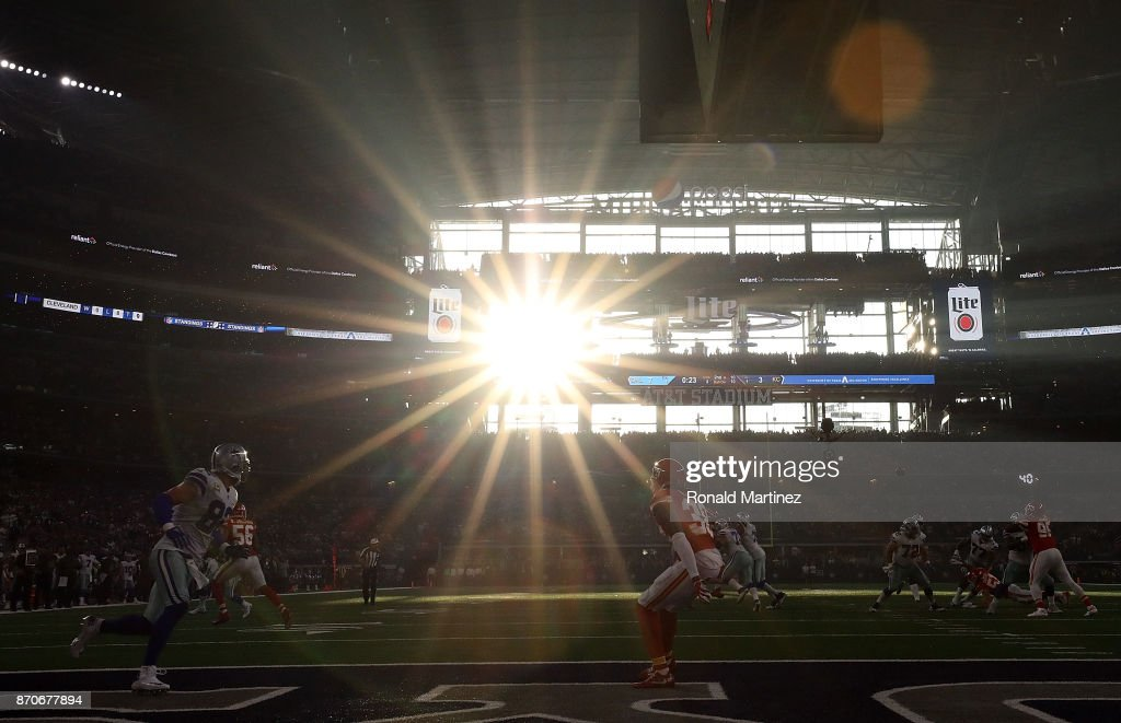 A general view of play between the Kansas City Chiefs and the Dallas Cowboys at AT&T Stadium on November 5, 2017 in Arlington, Texas.