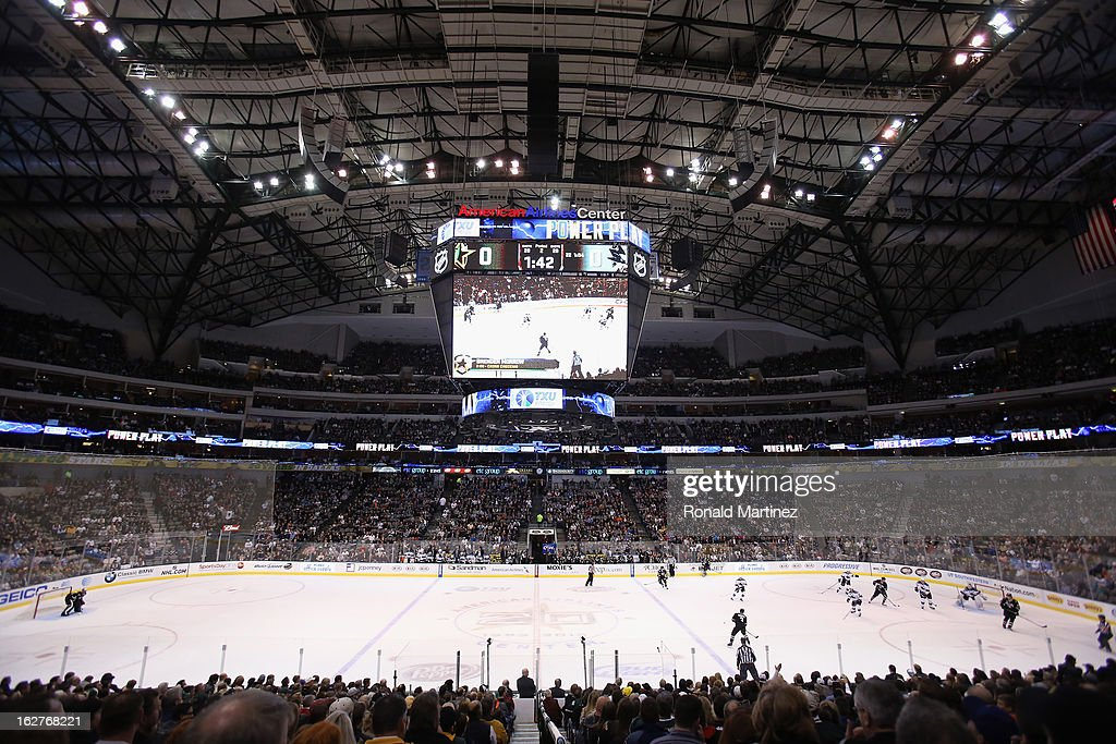 A general view of play between the San Jose Sharks and the Dallas Stars at American Airlines Center on February 23, 2013 in Dallas, Texas.