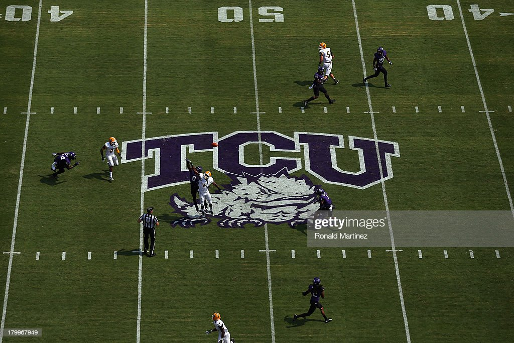 A general view of play between the Southeastern Louisiana Lions and the TCU Horned Frogs at Amon G. Carter Stadium on September 7, 2013 in Fort Worth, Texas.