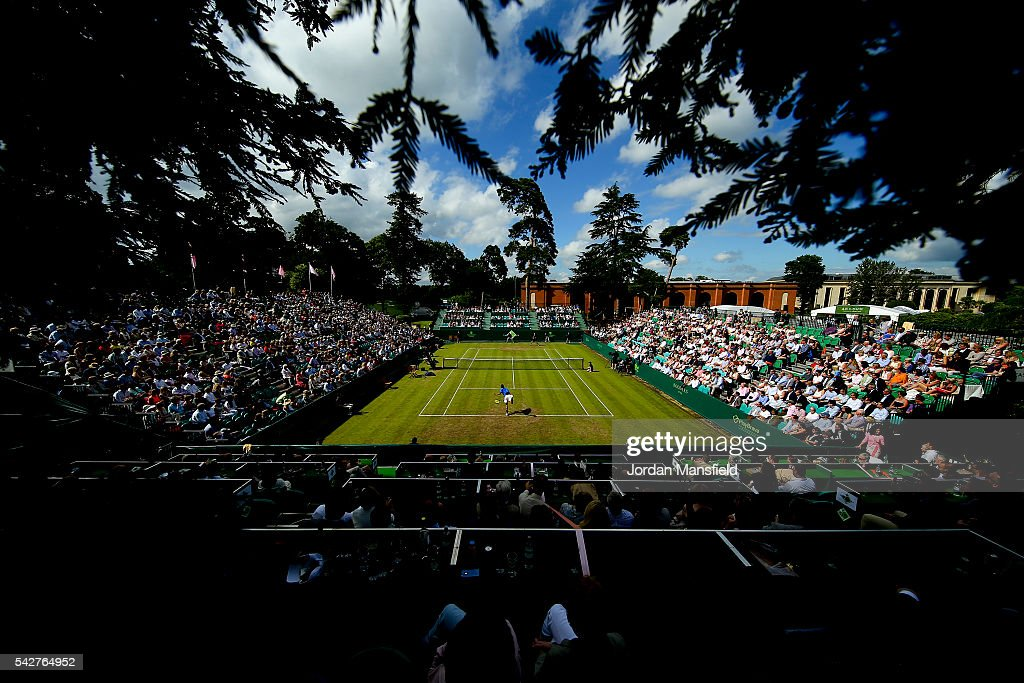 A general view of play duirng the match between Nick Kyrgios of Australia and Alexander Zverev of Germany during day four of The Boodles Tennis Event at Stoke Park on June 24, 2016 in Stoke Poges, England.