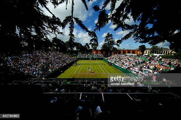 A general view of play duirng the match between Nick Kyrgios of Australia and Alexander Zverev of Germany during day four of The Boodles Tennis Event...