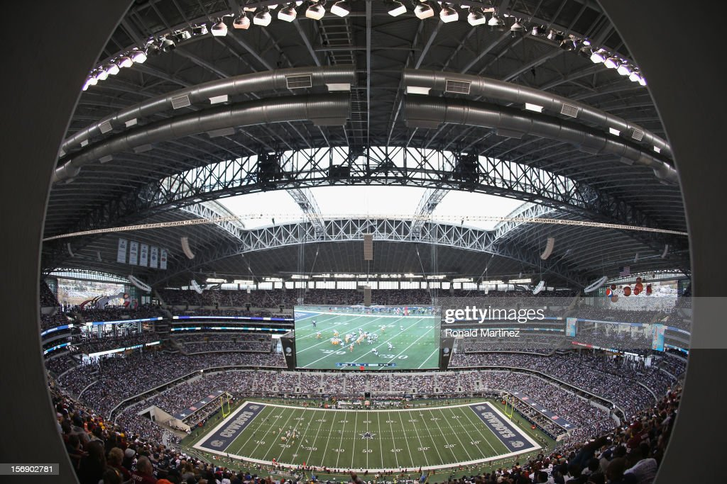 A general view of play during a Thanksgiving Day game between the Washington Redskins and the Dallas Cowboys at Cowboys Stadium on November 22, 2012 in Arlington, Texas.