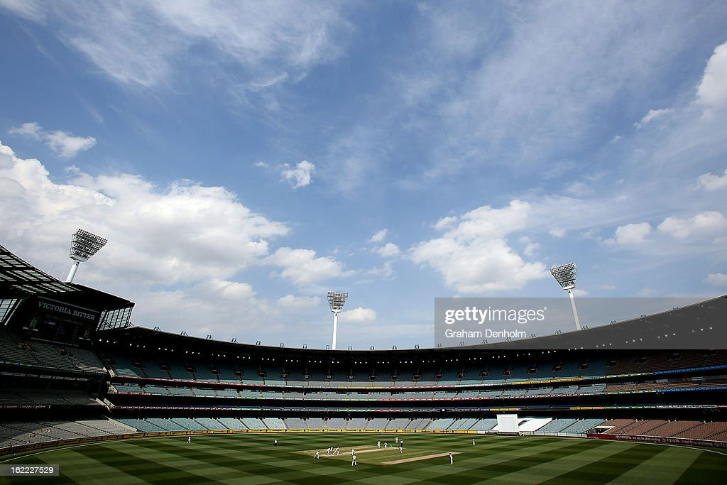 A general view of play during day four of the Sheffield Shield match between the Victorian Bushrangers and the Queensland Bulls at Melbourne Cricket Ground on February 21, 2013 in Melbourne, Australia.