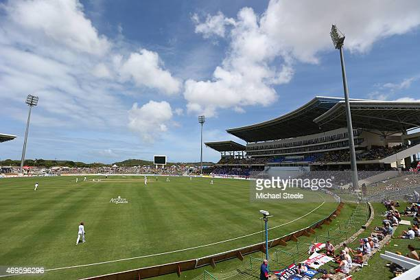 General view of play during day one of the 1st Test match between West Indies and England at the Sir Vivian Richards Stadium on April 13 2015 in...