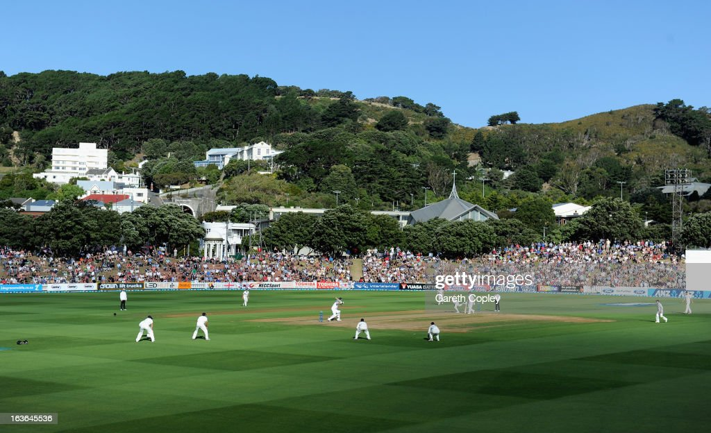 General view of play during day one of the 2nd Test match between New Zealand and England at Basin Reserve on March 14, 2013 in Wellington, New Zealand.