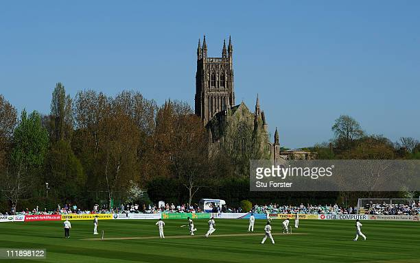A general view of play during Day One of the LV County Championship Division One match between Worcestershire and Yorkshire at New Road on April 8...