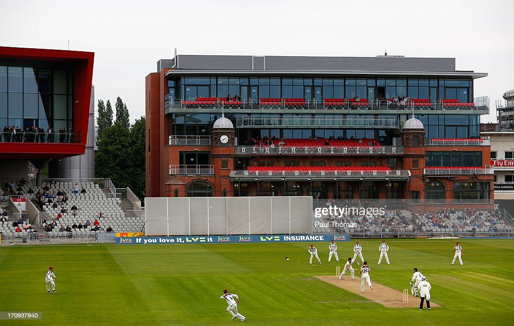 A general view of play during day one of the LV County Championship Division Two match between Lancashire and Northamptonshire at Old Trafford on June 20, 2013 in Manchester, England.