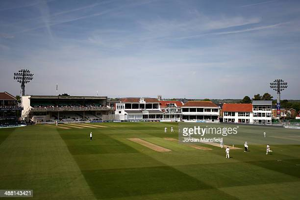 A general view of play during day one of the LV County Championship second division match between Kent and Surrey at St Lawrence Ground on May 4 2014...