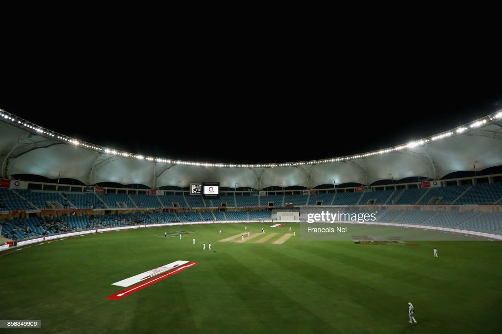 A general view of play during Day One of the Second Test between Pakistan and Sri Lanka at Dubai International Cricket Ground on October 6, 2017 in Dubai, United Arab Emirates.
