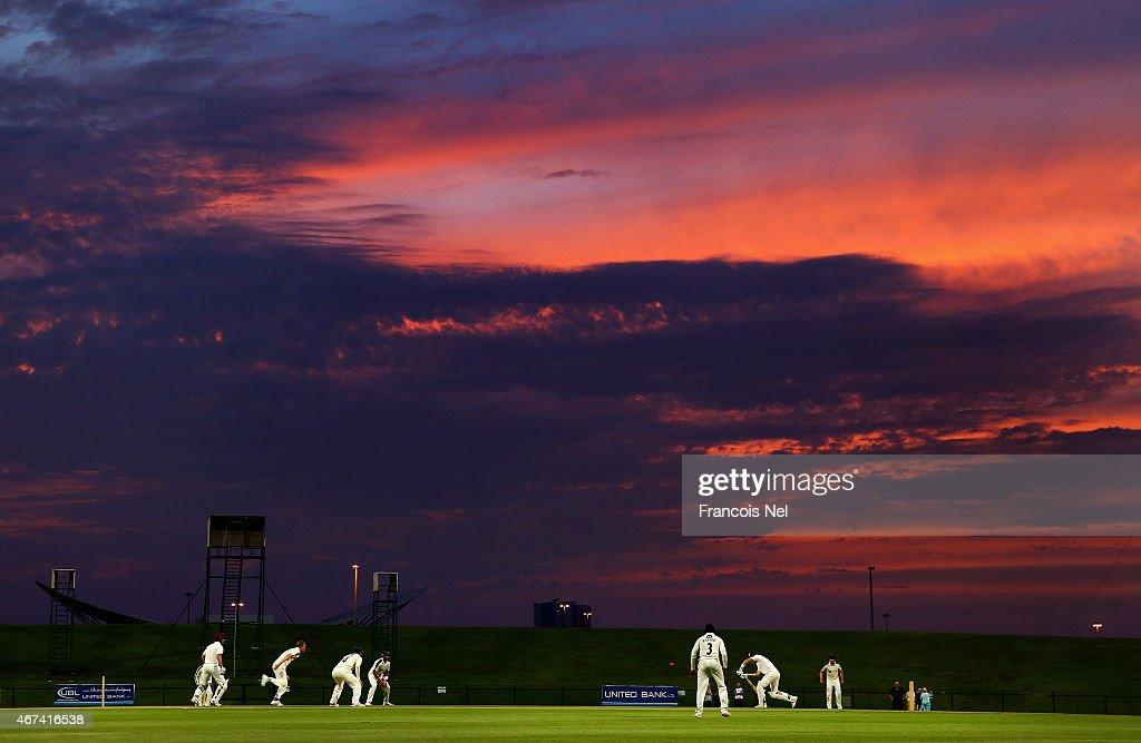 A general view of play during day three of the Champion County match between Marylebone Cricket Club and Yorkshire at Sheikh Zayed Stadium on March...