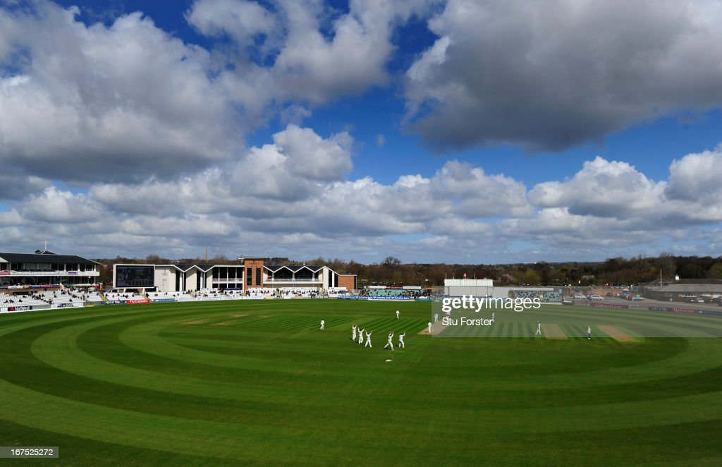 A general view of play during day three of the LV County Championship division One match between Durham and Yorkshire at The Riverside on April 26, 2013 in Chester-le-Street, England.