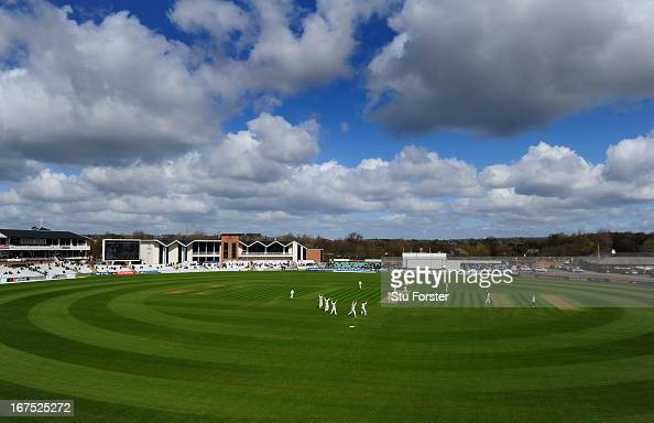 A general view of play during day three of the LV County Championship division One match between Durham and Yorkshire at The Riverside on April 26...