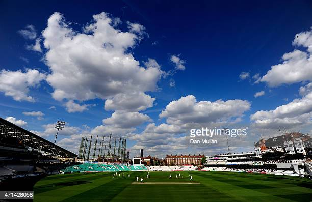 A general view of play during day three of the LV County Championship Division Two match between Surrey and Essex at The Kia Oval on April 28 2015 in...