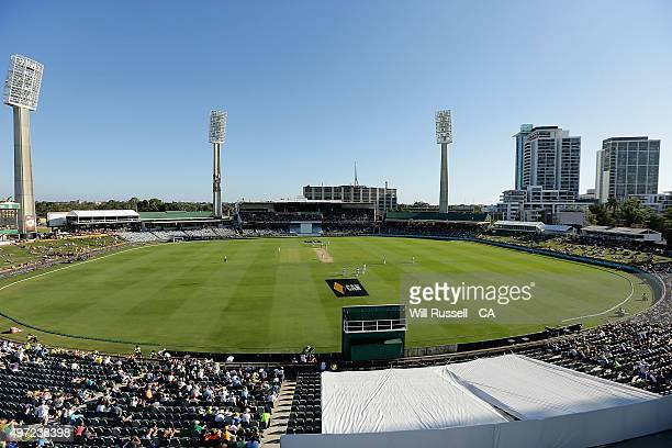 A general view of play during day three of the second Test match between Australia and New Zealand at WACA on November 15 2015 in Perth Australia
