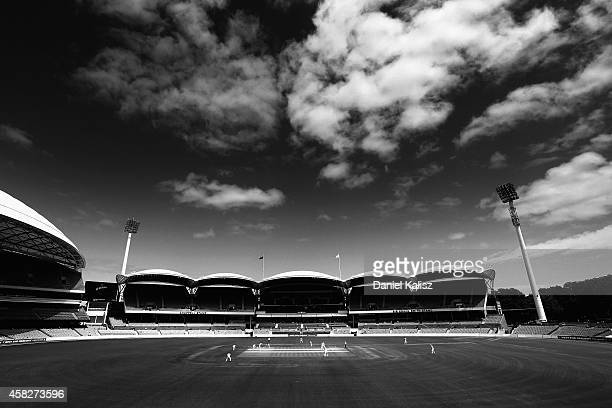 A general view of play during day three of the Sheffield Shield match between South Australia and Queensland at Adelaide Oval on November 2 2014 in...
