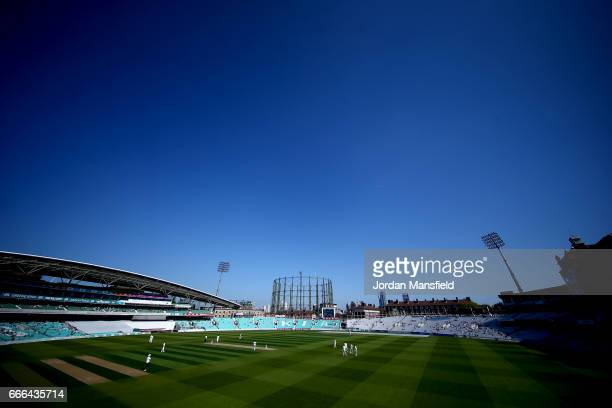 A general view of play during day three of the Specsavers County Championship Division One match between Surrey and Warwickshire at The Kia Oval on...
