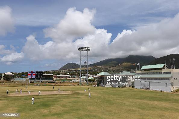 General view of play during day two of the 2nd Invitational Warm Up match between St Kitts and Nevis and England at Warner Park on April 9 2015 in...