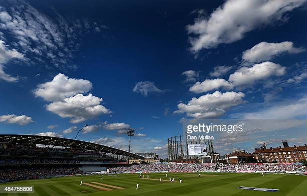 A general view of play during day two of the 5th Investec Ashes Test match between England and Australia at The Kia Oval on August 21 2015 in London...