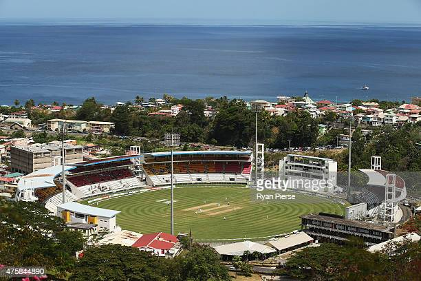 A general view of play during day two of the First Test match between Australia and the West Indies at Windsor Park on June 4 2015 in Roseau Dominica