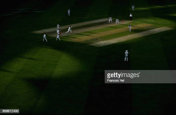 A general view of play during Day Two of the Second Test between Pakistan and Sri Lanka at Dubai International Cricket Ground on October 7 2017 in...