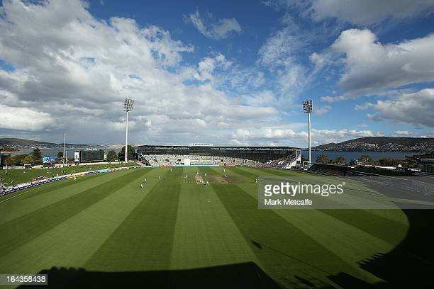 A general view of play during day two of the Sheffield Shield final between the Tasmania Tigers and the Queensland Bulls at Blundstone Arena on March...